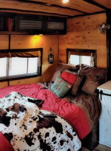 western inspired bed in camper