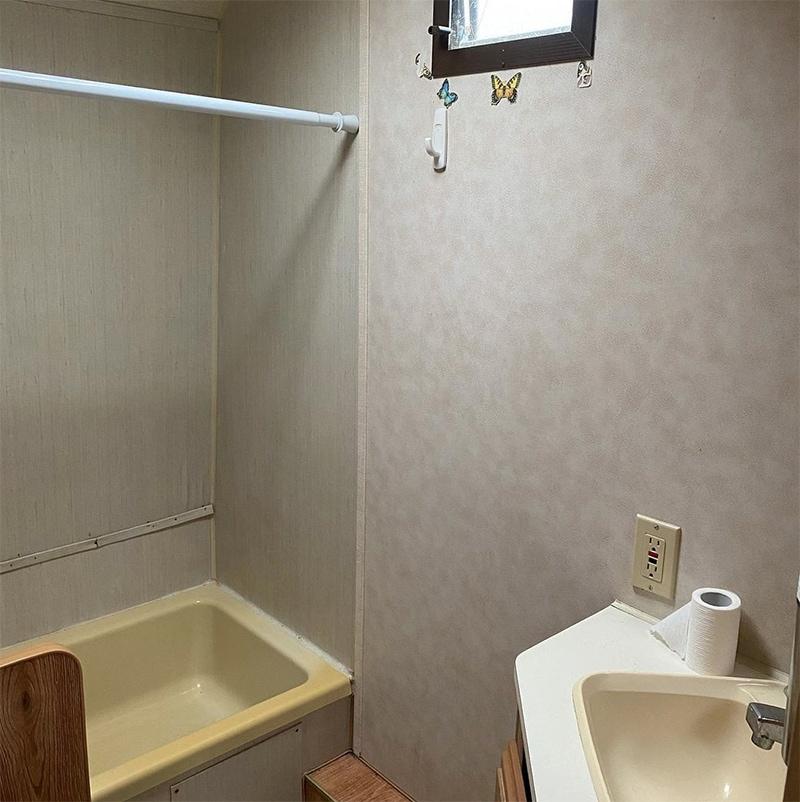 camper bathroom before