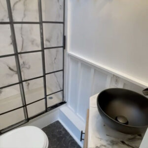 camper bathroom remodel with DIY epoxy shower