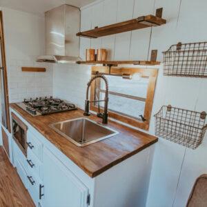modern farmhouse travel trailer kitchen remodel