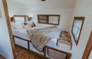 remodeled camper bedroom