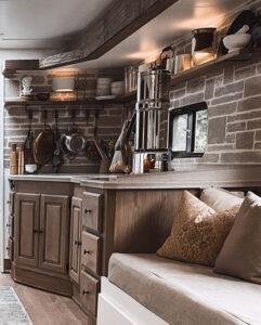 earthy motorhome kitchen