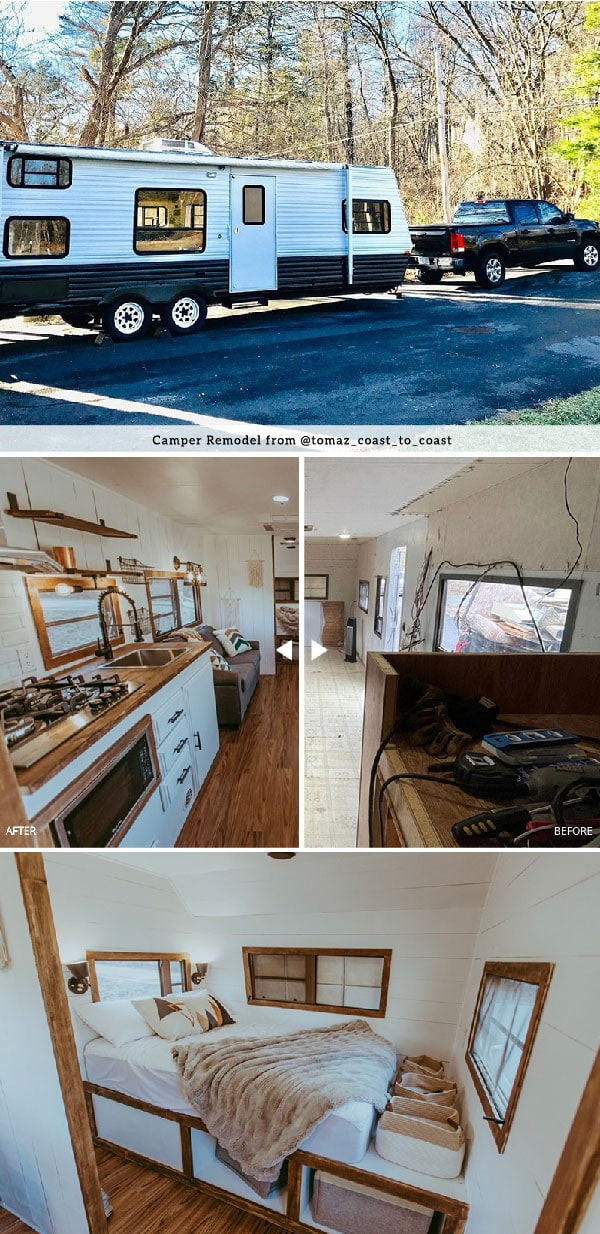 Tour this family-friendly camper remodel that includes a DIY epoxy shower