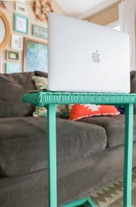 using-emerald-chalk-paint-on-laptop-table-with-paint-sprayer-mountainmodernlife.com