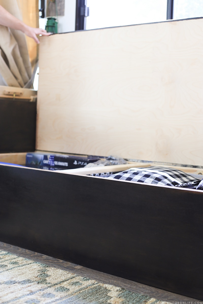 Custom RV Sofa with built-in storage | MountainModernLife.com